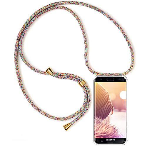 Handykette Handyhülle mit Band für Samsung Galaxy S7 Edge Cover - Handy-Kette Handy Hülle mit Kordel Umhängen -Handy Halsband Lanyard Case/Handy Band Halsband Necklace