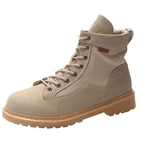 Bottes Femme Binggong Dames Chaussures, Bottes Femme - De noël Bottes - Boots Flattie Sport - Chaussures Classiques - Bottines À Lacets Couleur Unie Bout Rond