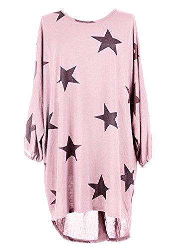 Elevesee Pullover Donna Autunno Inverno T Shirt Manica Lunga Magliette Maglia Stampa Stella Casual Camicette Lunghe Oversize Blusa Elegante Ufficio Top Rosa