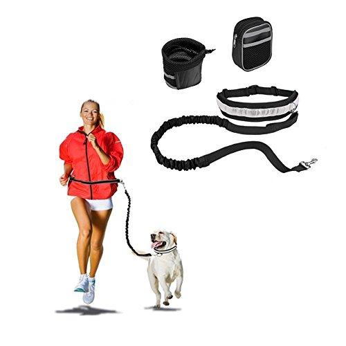 Laufender Hund Leine Taille Gürtel Hundewiesen Jogging Training Führung mit Beutel Taille Taschen Freisprech-reflektierende Nähte Leine (ohne Kragen) (Schwarz) (Versenkbare Reflektierend Hundeleine)