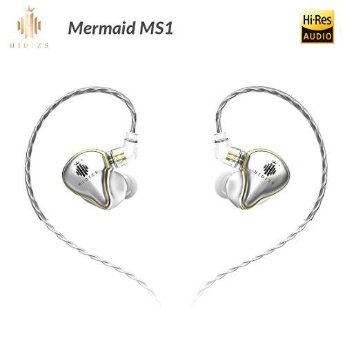 HIDIZS Cuffie monitor in-ear MS1, cuffie ad alta risoluzione Audiophile cablato, cuffie IEM Hi-Fi a diaframma dinamico con cavo rimovibile (argento)