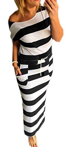 Sommerkleid Damen Lang Striped Sleeveless Beach Kleid Partykleid Elegant (367) (S/M)
