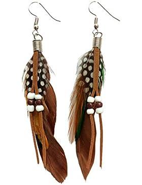 Amynetti Feder Boho Ohrschmuck Hippie Ohrhänger Ohrringe Vintage Leder Perlen