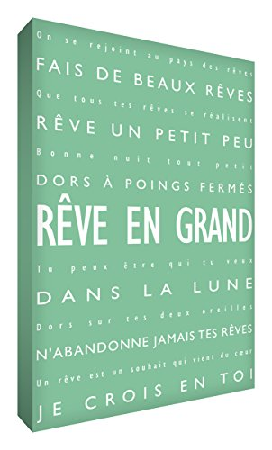 Feel Good Art Moderne et Typographique Toile sur Cadre Mural de Style Vert Pâle 91 x 60 cm