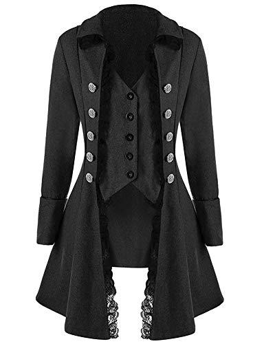e2f50ace148 Runyue Chaqueta Medieval para Hombre Renacimiento Punk Traje Ropa Vintage  Abrigo Gótico Negro L