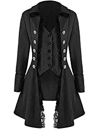 Runyue Damen Mittelalterliches Vintage Frack Jacke Gothic Unregelmäßig  Steampunk Mantel Coat Uniform Kostüm 56f2ba8398