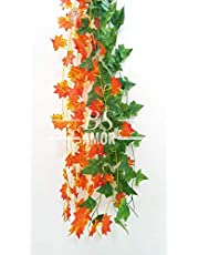 BS AMOR Artificial Creeper (3 Green+3 Orange)   Wall Hanging   Speacial Ocassion Decoration   Home Decor Party   Office   Festival Decorative   Length 6 Feet (Pack of 6 Strings)