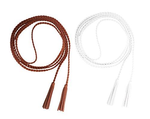 Nanxson Damen Mädchen Dekorative Gestrickte Lederbauchkette Geflochtene Gürtel mit Troddel (weiß tan)