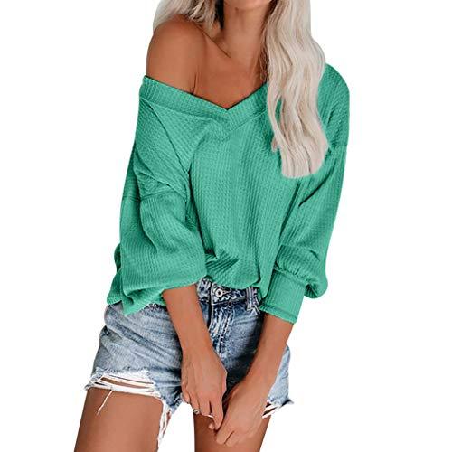 Farbige Stricken Top (DOFENG Damen T Shirt Bluse Sweatshirt Damen Lange Ärmel Mode Locker Stricken Volltonfarbe Schulterfrei Lässig V Hals Pullover Oberteil Tops (Weinrot, Large))