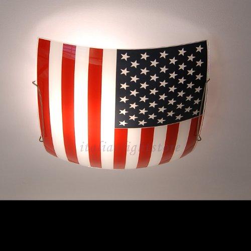 Plafoniera 40x40 Bandiera Americana Design Moderno Cameretta- Collezione American Dream -Illuminazione Interni.