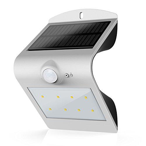 HonestEast LED Solarleuchten, Solarlicht mit Bewegungssensor Außenleuchten für den Garten Hof Balkon Zaun Terrasse Deck Fahrweg Treppen Nachtlicht im Freien (Silber)