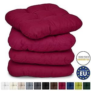 Beautissu 4er Set Stuhlkissen 40x40 cm Lisa - Bequemes 8cm Kissen für Stuhl & Bank - Gepolstertes Sitzkissen Stuhl für Ihre Esszimmer Stühle und Bänke - Sitzpolster in Rot