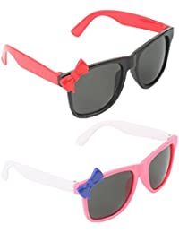 Stol'n Kids Wayfarer And Bow Combo Pack Of 2 Pieces For Girls/Black And Red/White And Blue And Pink/Gift Pack