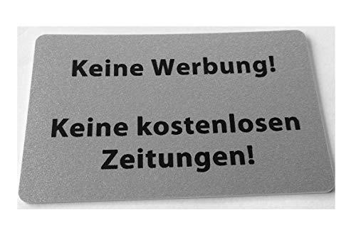 KaiserstuhlCard Magnet 2x Keine Werbung keine kostenlosen Zeitungen magnetisch und selbstklebend Aufkleber Tür Schild Türschild Briefkasten Briefkastenschild Haus Praxis Büro Geschäft silber