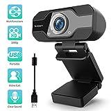 TedGem Webcam, Webcam 1080p, PC Webcam mit Mikrofon Full HD Webcam USB Webcam Streaming Webcam für Videoanrufe und Aufnahme, Klein/Flexibel/Einstellbar, Unterstützt Windows, Android, Linux
