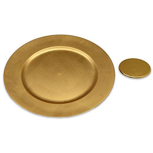 Argon Tableware Assiettes de présentation Rondes et sous-Verres en Or