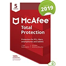 McAfee Total Protection 2019, 5 Device, 1 Year, PC/Mac/Android/Smartphones [Online Code]