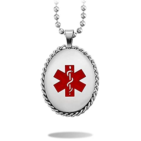 MeMeDIY Silber Ton Edelstahl Anhänger Halskette Medical Alert ID Tag ,mit 58cm Kette - Kundenspezifische Gravur
