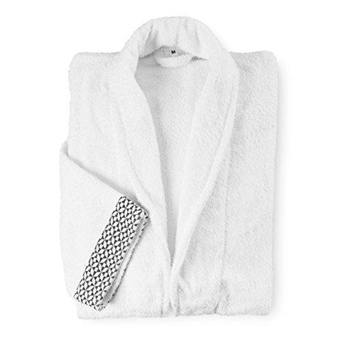 Lumaland Albornoz Unisex de algodón L XL XXL Lavable hasta 60 °Capto para la Secadora L Blanco