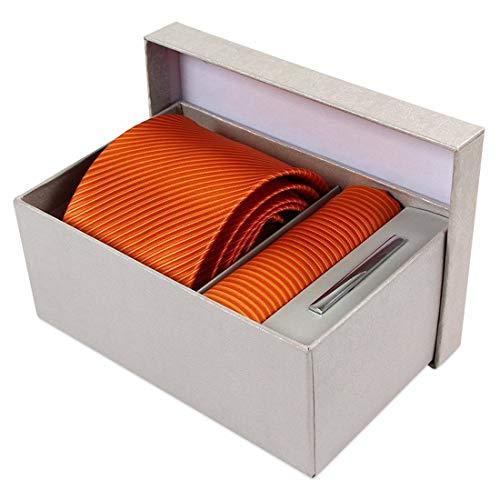 Yetta Home 8 cm orange Streifen Krawatten-Set Krawatte Einstecktuch in Geschenkbox