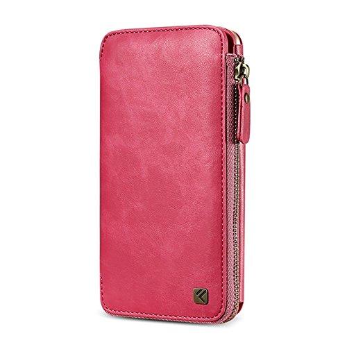 GHC Cases & Covers, FLOVEME für iPhone 6 & 6s, Crazy Horse Textur-Reißverschluss Horizontal Flip schützende Ledertasche mit Kartensteckplätzen und Wallet & Lanyard ( Color : Black ) Magenta