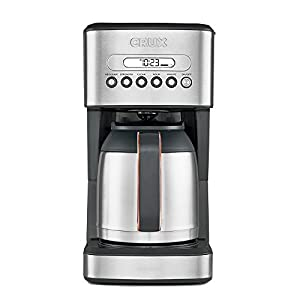 CRUX Instant Ground Electric Hot Coffee Maker Machine Kit - Pre-Programmable Settings - 10 Cups, Self Cleaning - Auto Start Function - Thermal Carafe Keeps Coffee Hot Up to 4 Hours - Stainless Steel