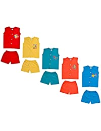Sathiyas Baby Unisex Sleeveless V-Neck Cotton Top & Bottom (Multicolor) - Pack of 5 Sets