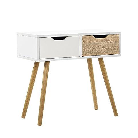 [en.casa]® Table de console blanc/chêne table d'appoint table de mur console Buffet