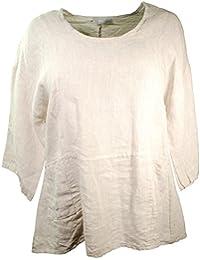 Immerschön Leinen-Shirt 3/4 Arm Lagenlook Tunika Longshirt Pullover Pulli Sweatshirt Leinen