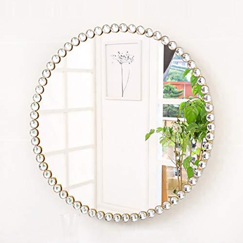 Nordic Kosmetikspiegel, Metall Badezimmer Runde Wand Eitelkeit Spiegel Kosmetik Make-up Kosmetik Strap Spiegel für Wohnzimmer (Durchmesser: 40/50/60/70cm) -