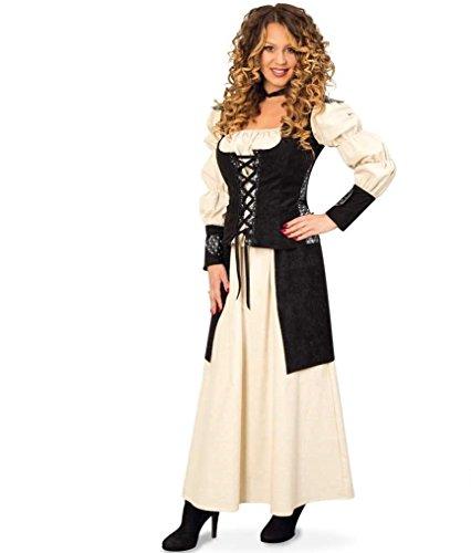 KarnevalsTeufel Mittelalter Kleid 2-TLG. Gewand Kleid Kostüm für Damen Faschingskleid Bluse Rock (38)