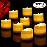 Velas de Té Led Liqoo 12x Velas led Eléctrica Té Luces Parpadeo Blanco Cálido Crea Atmósfera Romántica Funciona con Pilas Luces decorativas para Casa Fiestas Navidades Cumpleaños Bodas
