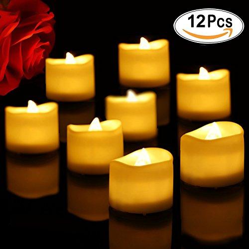 Liqoo 12er Set Teelichter LED Kerzen Elektrische Flammenlose Batteriebetriebene Kerze Lampe Schlafzimmer Wohnzimmer Deko für Hochzeit, Geburtstags (Twinkle Kürbis)