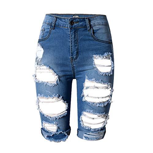FJJBHSD Boxershorts Hohe Taille Persönlichkeit, Loch in der Hose, vielseitig Dünne, große Stretchhose, tiefblau 34