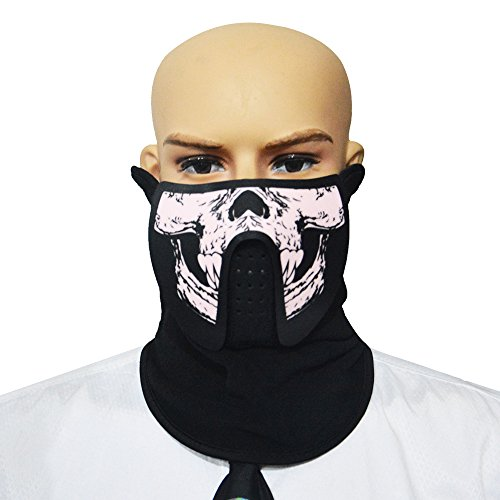 LED Leuchten Maske, Aohro Soundaktive Licht Leuchtende Cosplay Erschreckend Party Horror Led Equalizer Rave Maske für Halloween Festival Parteien--Cráneo