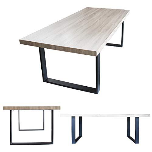 MOG Esszimmertisch 220x100 cm Kufentisch Holztisch Kufengestell Esstisch Tisch mit Tischplatte und Kufen - alle Größen und Farben (Sanoma Eiche + Schwarz)