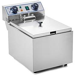 Royal Catering Friteuse électrique RCTF-10EH (10 L, 3200 W, 230 V, Thermostat 60-200 °C, Minuterie, Acier Inox, panier, couvercle)