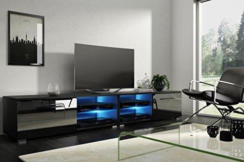 Tenus Double Meuble TV (Noir/Noir avec LED)