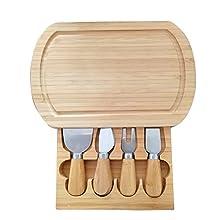 Planche à fromage en bambou écologique avec tiroir comprenant râpes, fourchette et couteau Cadeau idéal