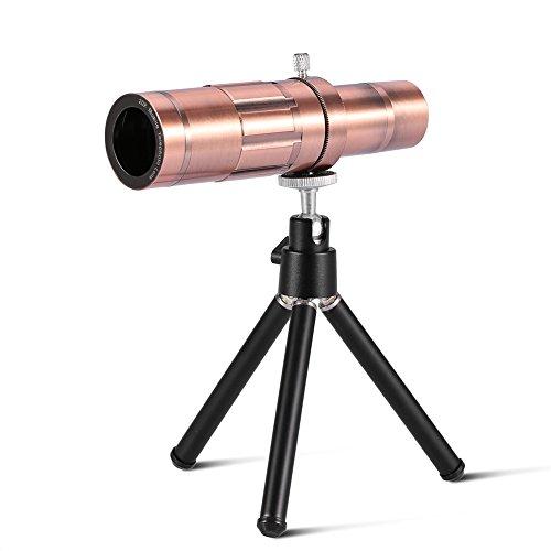 20X Objektiv Zoom Mikroskop,Richer-R Universal Clip-On Tele Teleskop Kamera Handy Zoom Objektiv,Tragbar Teleobjektiv 20X optischer Zoom Teleskop Set für iPhone 8 und die meisten Android Smartphone (red bronze) (Teleskop-sicherheits-kamera)