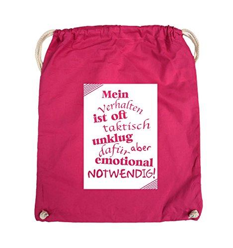 Comedy Bags - Mein Verhalten ist oft taktisch unklug - ZETTEL - Turnbeutel - 37x46cm - Farbe: Schwarz / Silber Pink / Weiss