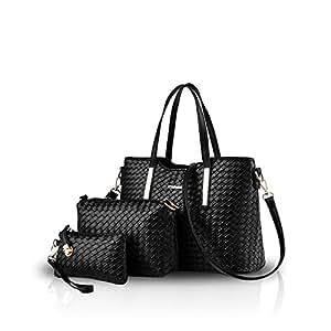 Nicole&Doris Fashion Handbag Crossbody Shoulder Bag Purse 3pcs Bag Tote Soft PU Leather Black