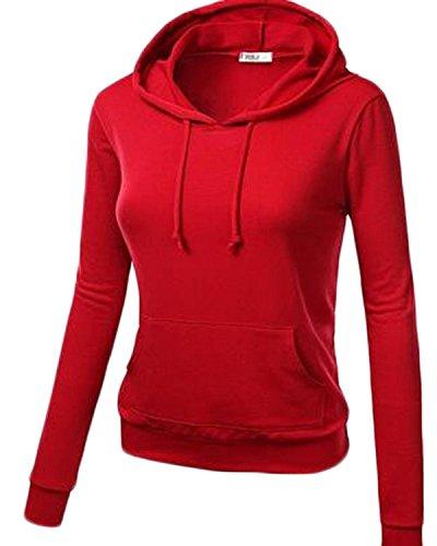 ZANZEA Femme Automne Hiver Col Haut Fleece Hoodie Jumper Capuche Sweats Shirt Rouge