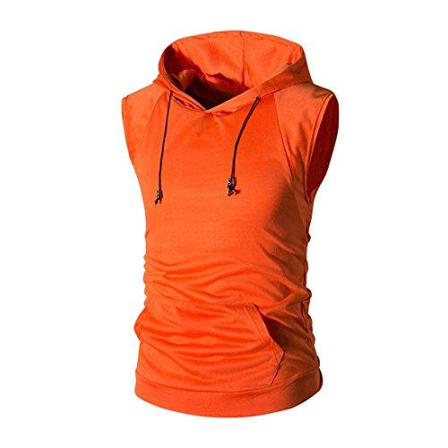 Trada Kapuzenweste Weste, Damen Mode Herren Sommer Casual Kapuzen-Reine Farbe T-Shirt Kurzarm Top Bluse Trainingshirt Tops Muskelshirt Fitness Gym Sport Tanktop Unterhemden (M, Orange) (Orange Travel Jacke)