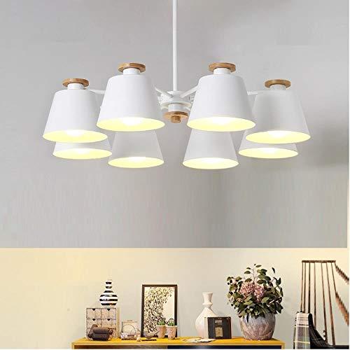 Schatten Sechs Licht Kronleuchter (Nordic-Leuchter E27 mit Eisen Lampshade für Wohnzimmer Hängeleuchten Lam Abs Holz Kronleuchter Lichter, schwarze Schatten, 6-Arm-Lichter, 220-240V, kaltes Weiß)