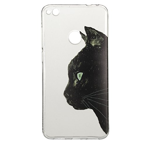 Coque Huawei P8 Lite 2017,Coque en Soft Silicone TPU Transparente pour Huawei Honor 8 Lite,Ekakashop Ultra Slim-fit Jolie Fille Robe Blanc Dessin Antidérapant Coque de Protection TPU Flexible Souple C Tête du Chat Noir