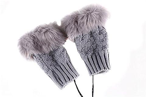 1paire (2pièces) d'hiver épaissir Mitaines gants chauffants USB en peluche chaud Wonder Grip Paire Gants Mitaines en tricot pour femme ado fille