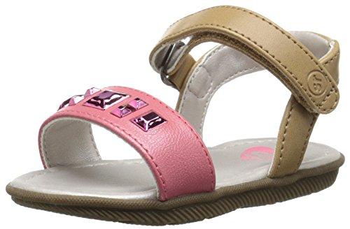 Stride Rite Baby Linnea Velcro Sandals, Tan/Pink, Size Little Girls 4M US/US