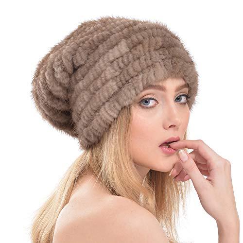 Cappello di pelliccia cappello di paglia in pelliccia di visone cappello di berretto di cashmere moda europea e americana tessitura di paraorecchie calde primavera e autunno inverno donna,khaki