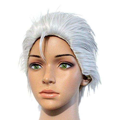 Vergil Perücke Wig Anime Cosplay Kostüm Costume Kurz Silber Haar Zubehör Hair (Cosplay Vergil Kostüm)